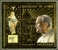 W.A.S. Calalog : Pope Jean Paul II Gold Issues - 1998 - Guinea -  Religions