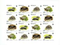 W.A.S. Calalog : Turtles Imperforate Sheet of 4 sets - 1991 - Monaco -  Animaux