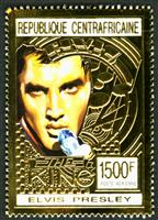 W.A.S. Calalog : Elvis Presley , Gold issue - 1993 - Republic of Central Africa -  Personnages célèbres