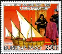 W.A.S. Calalog :  Christophe Colomb Ships - 1985 - Burkina Faso -  Transports, Personnages célèbres