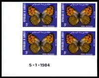 W.A.S. Calalog : Butterflies 4 Imperforate Sets of 5 Values With Margin - 1984 - Djibouti -  Faunes & Flores