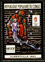 W.A.S. Calalog :  Olympic Games Albertville 1992, GOLD issue - 1991 - Congo -  Jeux Olympiques, Sport