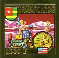 W.A.S. Calalog : TOGO 1973 conquest of space imperforate gold stamp and deluxe sheet - 1973 - Togo -  Espace