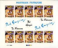 W.A.S. Calalog : Paint of Paul Gauguin imperforate sheet of 10 - 1989 - French Polynesia -  Painting