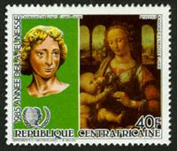 W.A.S. Calalog : International Year of Youth 1985 (Da Vinci-Bach-Velasquez-Schubert-Goya-Mozart-Picasso) - 1985 - Republic of Central Africa -  Personnages célèbres