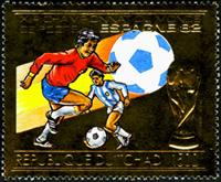 W.A.S. Calalog : Spain Soccer Worldcup 1982 , Gold issue - 1982 - Tchad -  Football / Soccer