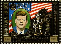 WAS Calalog - REP. KHMER 1973 Space / Kennedy gold stamps - famous people - 1973