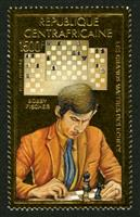 W.A.S. Calalog : Great Master of the Chess 1983 (Fischer-Reti-Larsen-Petrossian-Mecking))  GOLD - 1983 - Republic of Central Africa -  Jeux d