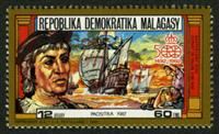 W.A.S. Calalog : Christopher Columbus and the discovery of America - 1987 - Madagascar -  Evénements historiqu, Personnages célèbres