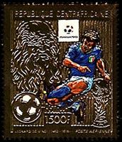 W.A.S. Calalog : Football world championship 1990 italy   GOLD - 1989 - République de centrafrique -  Football / Soccer, Sport