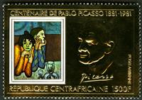 W.A.S. Calalog : Pablo Picasso paintings GOLD - 1981 - Republic of Central Africa -  Personnages célèbres, Painting