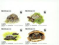 W.A.S. Calalog : Turtles Imperf. Block of 4 - 1991 - Monaco -  Animaux