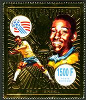 W.A.S. Calalog : Football world cup USA 94 Gold issue - 1993 - Republic of Central Africa -
