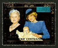W.A.S. Calalog : Birthday of Queen Mother 1985  GOLD - 1985 - Republic of Central Africa -