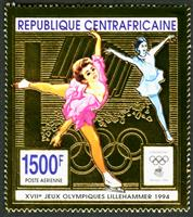 W.A.S. Calalog : Olympic Games Lillehammer 1994 Gold issue - 1994 - Republic of Central Africa -  Jeux Olympiques, Sport