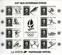 W.A.S. Calalog :  France 1992 Black imperforate s/s J.O Albertville - 1992 - France  -  Jeux Olympiques